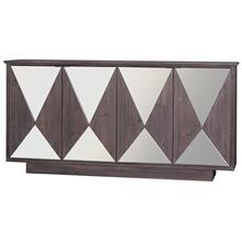 FRANKFURT SIDEBOARD  Washed Brown Finish on Hardwood with Beveled Mirror  4 Door