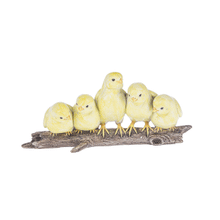Five Chickens on Log Figurine