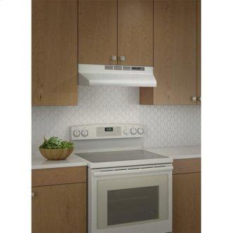 "Broan 160 CFM, 30"" Undercabinet Range Hood in White With Black Trim"