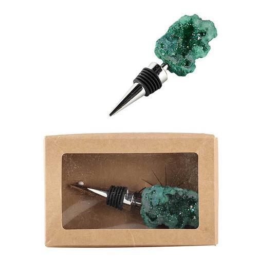 A & B Home - Bottle Stopper,Green Geode