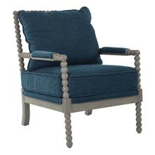 See Details - Abbott Spindle Chair In Azure Fabric With Brushed Grey Finish