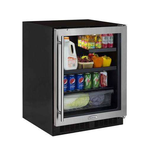 24-In Low Profile Built-In Beverage Refrigerator with Door Swing - Right
