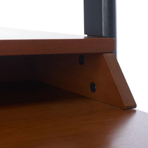 Pamella 2 Shelf Leaning Desk - Honey Brown / Charcoal