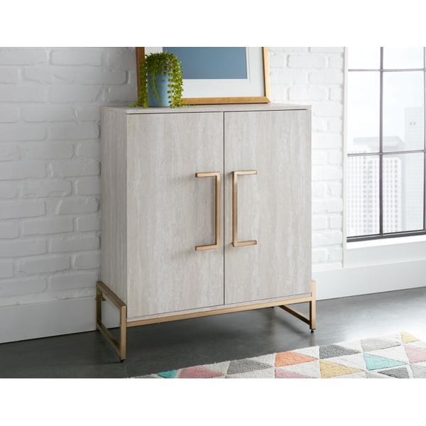 Larkin Faux-Marble Wine Cabinet