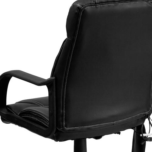 Gallery - Mid-Back Ergonomic Massaging Black LeatherSoft Executive Swivel Office Chair with Arms