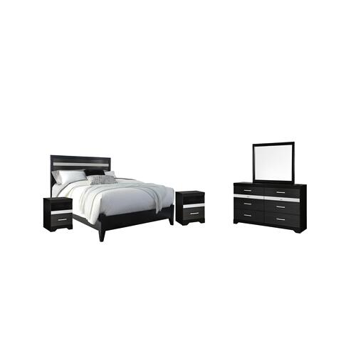 Ashley - Queen Panel Bed With Mirrored Dresser and 2 Nightstands