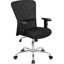 View Product - Mid-Back Black Mesh Contemporary Swivel Task Office Chair with Chrome Base and Adjustable Arms