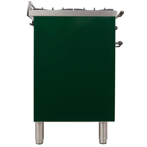 Nostalgie 48 Inch Dual Fuel Natural Gas Freestanding Range in Emerald Green with Bronze Trim