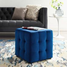 Contour Tufted Button Cube Performance Velvet Ottoman in Navy