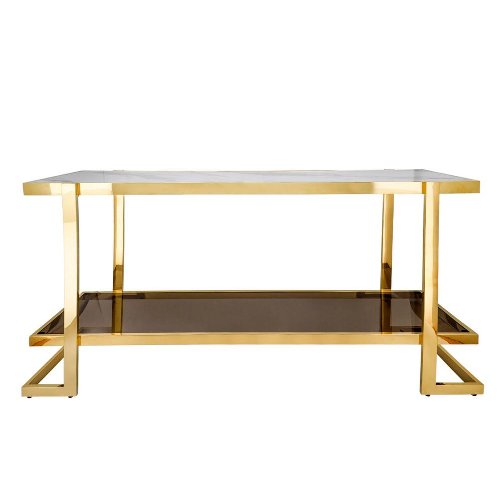Metal/marble Glass Console Table, Gold/white
