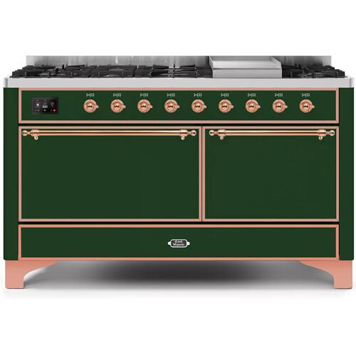 Majestic II 60 Inch Dual Fuel Natural Gas Freestanding Range in Emerald Green with Copper Trim
