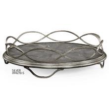 Green faux shagreen & silver iron circular tray