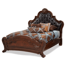 Cal. King Tufted Leather Mansion Bed (3 pc)