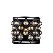 Madison 1 light Matte Black Wall Sconce Golden Teak (Smoky) Royal Cut Crystal