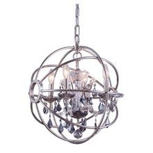 Geneva 4 light Polished nickel Pendant Silver Shade (Grey) Royal Cut crystal