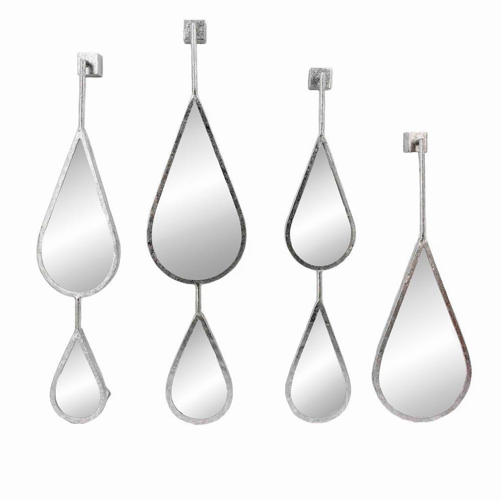 S/4 Silver Teardrop Mirrors