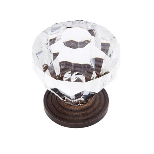 "Old World Bronze 1-1/4"" Acrylic ""Crystal"" Knob"