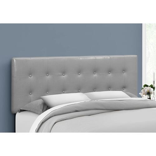 BED - QUEEN SIZE / GREY LEATHER-LOOK HEADBOARD ONLY
