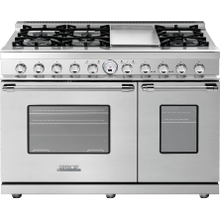 """See Details - Range DECO 48"""" Classic Stainless steel, Chrome 6 gas, griddle and 2 electric ovens, self-clean"""