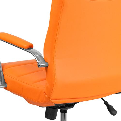 Gallery - Mid-Back Orange Vinyl Executive Swivel Office Chair with Chrome Base and Arms