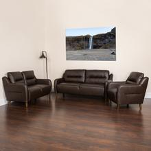 Newton Hill Upholstered Bustle Back Chair, Loveseat and Sofa Set in Brown LeatherSoft