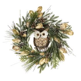 Light Up LED Christmas Wreath with Owl