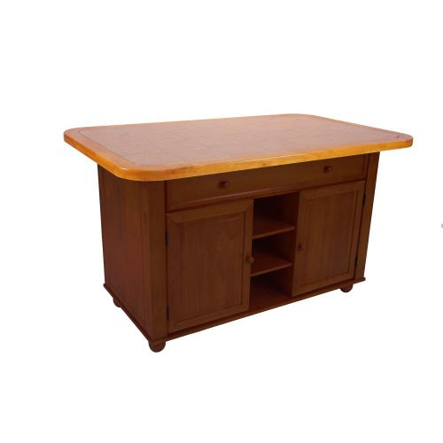 Kitchen Island - Nutmeg with Light Oak Trim and Terracotta Rose Tile Top