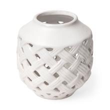 See Details - Forillon I Short White Glazed Lattice Pattern Vase