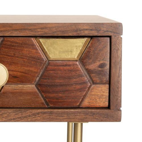 Raveena Desk - Walnut / Brass