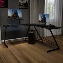 """L-Shaped Desk 71.5"""" Computer Corner Desk, Home Office Corner Desk, Gaming Desk, Space Saving, Easy to Assemble, Black\/Black"""