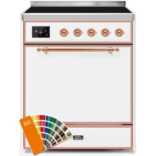 Majestic II 30 Inch Electric Freestanding Range in Custom RAL Color with Copper Trim