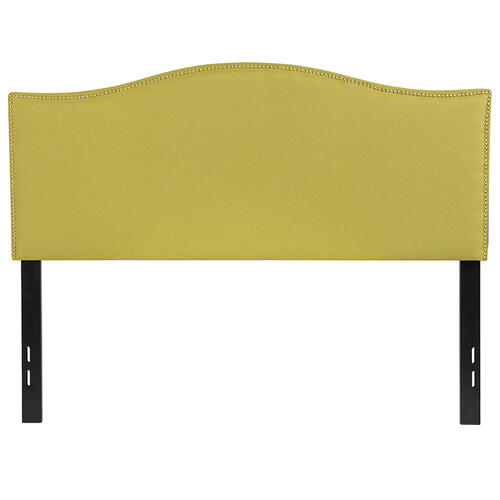Lexington Upholstered Full Size Headboard with Accent Nail Trim in Green Fabric
