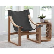 See Details - Lima Sling Chair, Black Leather with Natural Frame
