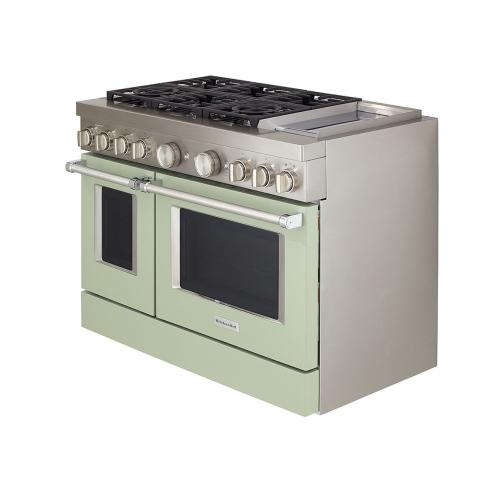 KitchenAid® 48'' Smart Commercial-Style Dual Fuel Range with Griddle - Avocado Cream