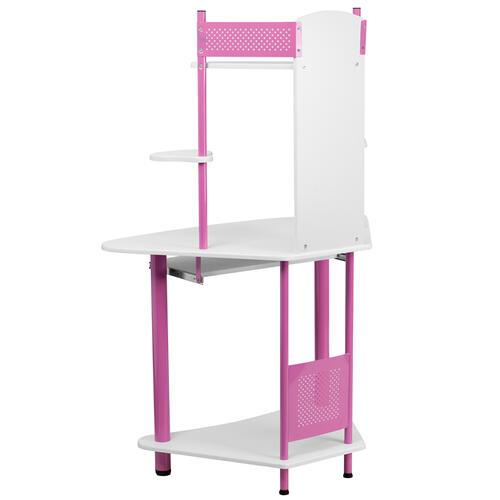 Flash Furniture - Pink Corner Computer Desk with Hutch
