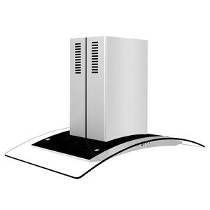ZLINE Convertible Vent Island Mount Range Hood in Stainless Steel & Glass (GL14i) [Size: 30 inch] -