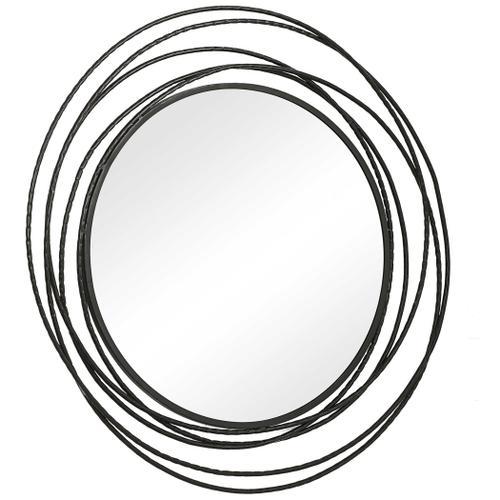 Whirlwind Black Round Mirror