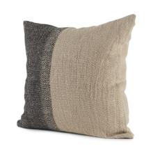 Isolde 20L x 20W Beige and Dark Gray Fabric Color Blocked Decorative Pillow Cover