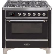 Majestic II 36 Inch Dual Fuel Liquid Propane Freestanding Range in Glossy Black with Chrome Trim