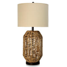 WATER HYANCINTH TABLE LAMP  16in w X 32in ht X 16in d  Natural Hyacinth Branches Base with White L