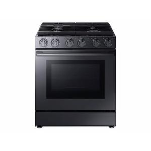 "Samsung5.8 cu. ft. 30"" Chef Collection Professional Gas Range with Dual Convection in Black Stainless Steel"