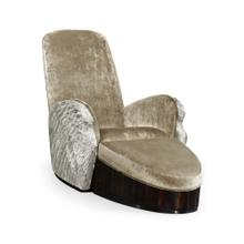 Silver Angel Wing Chair with Ottoman, Upholstered in COM