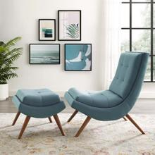 Ramp Upholstered Performance Velvet Lounge Chair and Ottoman Set in Light Blue