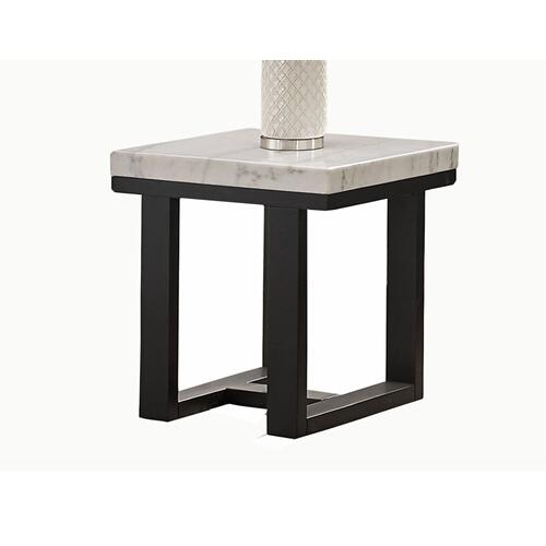 Lucca White Marble Top End Table