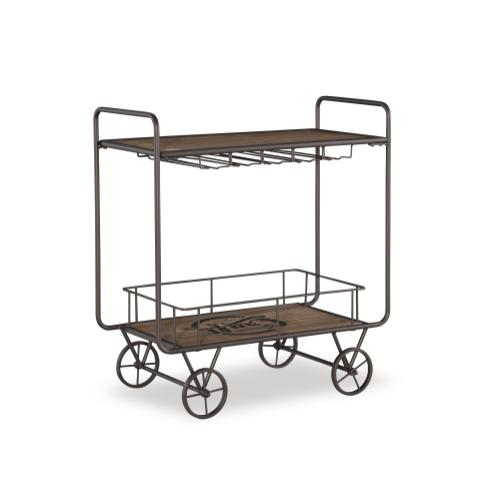Removable Lower Shelf and Wine Glass Storage Bar Cart, Brown and Dark Bronze