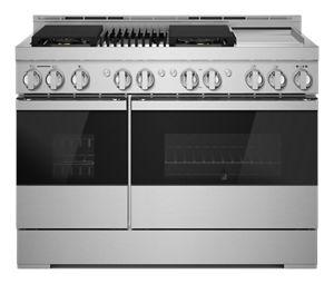 """NOIR™ 48"""" Gas Professional-Style Range with Chrome-Infused Griddle and Grill"""