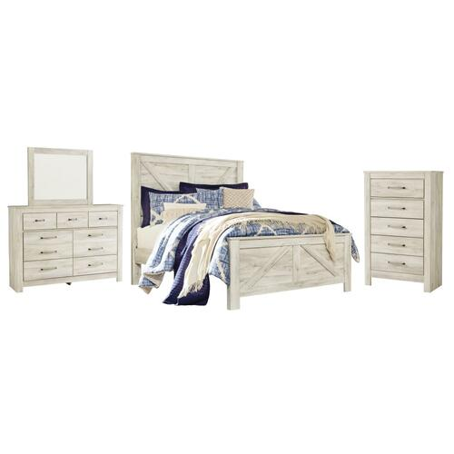 Queen Crossbuck Panel Bed With Mirrored Dresser and Chest