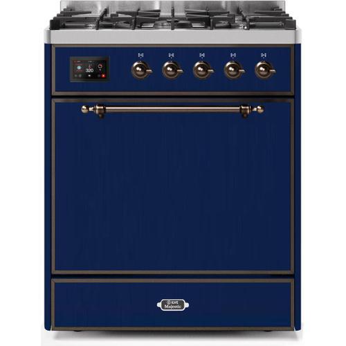Ilve - Majestic II 30 Inch Dual Fuel Liquid Propane Freestanding Range in Blue with Bronze Trim
