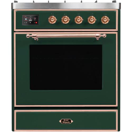 Majestic II 30 Inch Dual Fuel Natural Gas Freestanding Range in Emerald Green with Copper Trim
