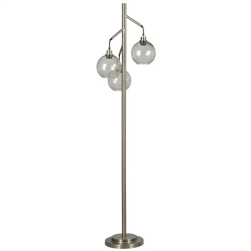 Brushed Steel  Contemporary  Metal and Glass Pendant Floor Lamp  25W X 3  On-Off Foot Switch